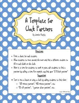 Clock Partners / Clock Game Freebie