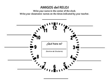 Clock Partners for Spanish Class
