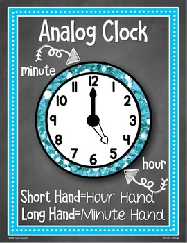 Telling Time Clock Posters: Digital & Analog!