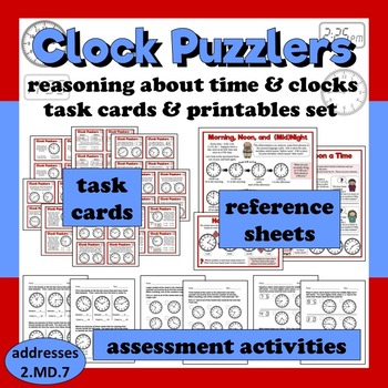 Clock Puzzlers reasoning about clocks and time task cards + printables set