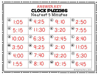 Time Puzzles {Nearest 5 Minutes}
