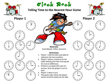 Clock Rock - A 2-Player Game to Practice Telling Time to the Nearest Hour