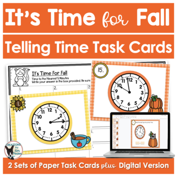 Telling Time Task Cards Fall Themed