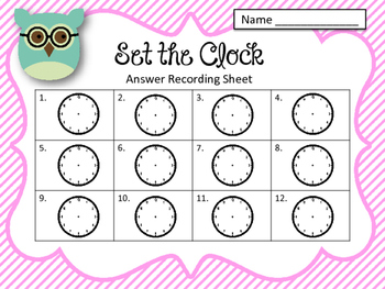 Clock Task Cards. Set the Clock! Telling time. Set 2