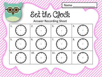 Clock Task Cards. Set the Clock! Telling time. Set 2