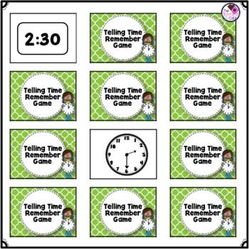 Clock Telling Time Memory Game