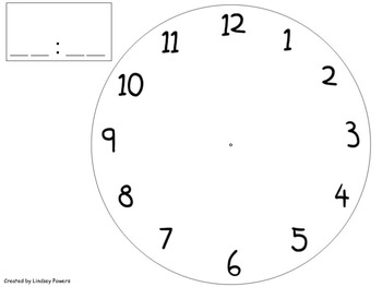 Clock Template Worksheets & Teaching Resources   TpT