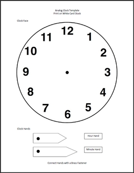 picture regarding Printable Clock Faces for Crafts identified as Clock Template Worksheets Education Elements TpT