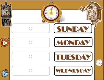 Clock Theme Weekday Chart! Clock Bulletin Board! Clock Day
