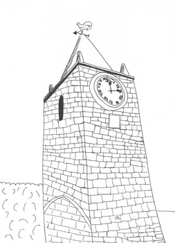 Clock Tower on a Church: Colouring Worksheet