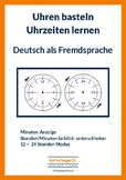 Clock in paper DIN A4; Learn to say the time in German, level A1