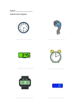 Spanish Time Practice Clock Worksheet
