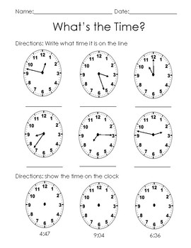 clock worksheet by tina travers teachers pay teachers. Black Bedroom Furniture Sets. Home Design Ideas