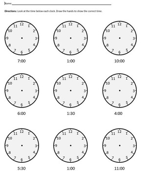 clock worksheet analog by mr superman school store tpt. Black Bedroom Furniture Sets. Home Design Ideas