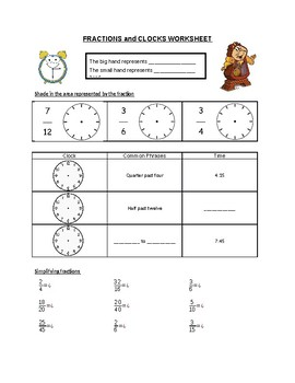 Fractions and Clocks Worksheet