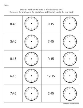 Clock and Telling the time activities