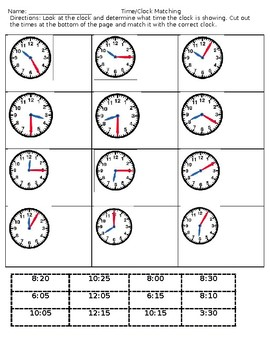 Clock and Time Matching Worksheet