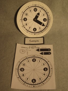 Clock for learning to tell time. Paper Plate Fun Craft Art. FREE