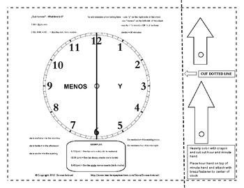 Clock with Movable Hands and Spanish Time Vocabulary