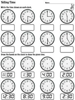 Clocks - 1st Grade Common Core 1.MD.3