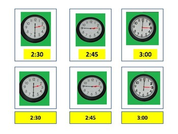 Clocks- 3 part cards (hour, half hour, 15, and 45 minutes increments)
