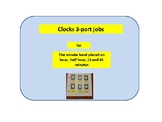 3-part cards --(clocks hour, half hour, 15, and 45 minutes increments)