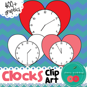 Clocks Clip Art - Heart-shaped clocks telling the time by five minutes