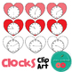 Clocks Clip Art - Heart-shaped clocks telling the time by