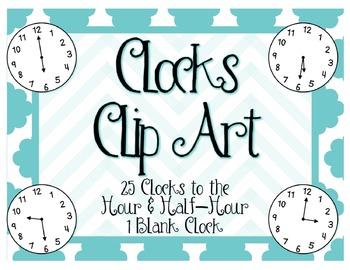 Clocks Clip Art: Hour & Half Hour