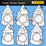 Clocks Clip Art black white: house