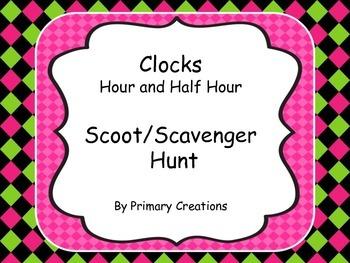 Clocks Hour and Half Hour Scoot/Scavenger Hunt