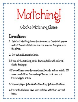 Clocks Matching Game. Clocks.  Telling Time  Math Game Center.  Match the Clocks