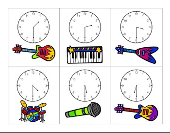 Clocks Rock!  A Time and Clock Matching Activity To The Hour and Half Hour