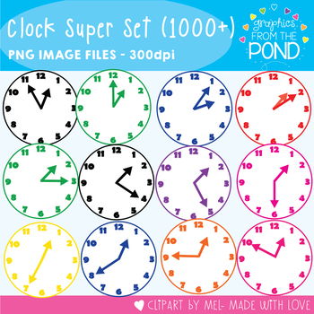 Clock Clipart Super Set - Clocks for Every Five Minutes - All 8 Colors
