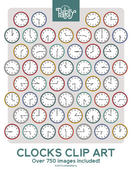 Clocks Telling Time Clipart - Fifteen Minute Intervals