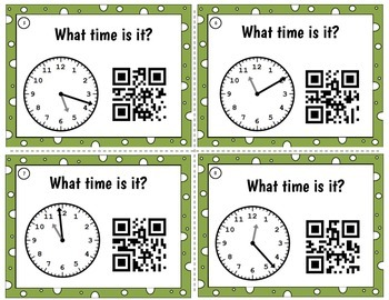 Clocks Time to Minute QR code Task Cards