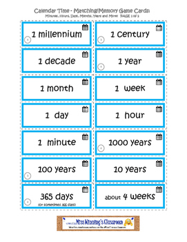 Clocks and Calendars: Matching and Memory Games for Learning About Telling Time