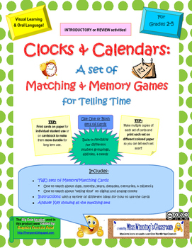 Clocks and Calendars: Matching and Memory Games for Learni