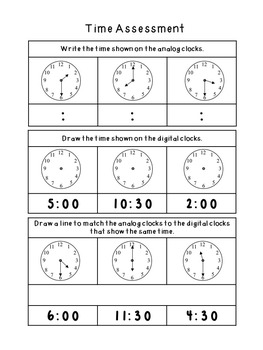 Clocks and Time Assessment First Grade FREEBIE