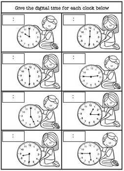 Time Matching Task and Worksheets