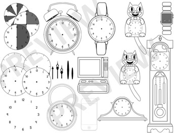 Clocks and Time-Piece clipart (Color and b&w) 300dpi
