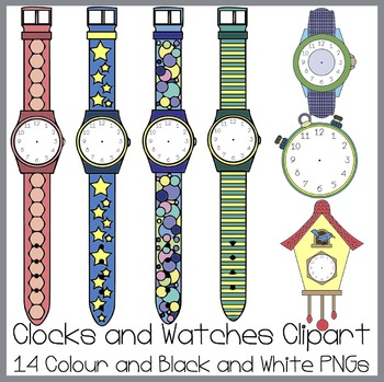 Clocks and Watches Clipart Set