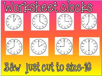 Clock clipart for worksheets