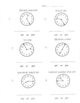 Clocks to the 5 minutes with am and pm