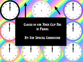Clocks to the Hour Clip Art: Pastel