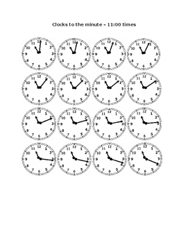 Clocks to the Minute - Eleven O'Clock Times