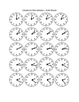 Clocks to the Minute - Two O'Clock Times