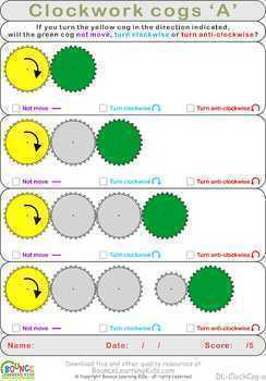 Clockwork cogs (10 Visual perception sheets)