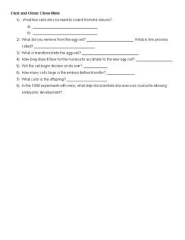 Cloning Worksheet and Online Interactive Questions