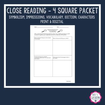 ***Close & Critical Reading*** 4 Square Guiding Questions Unit Common Core ELA